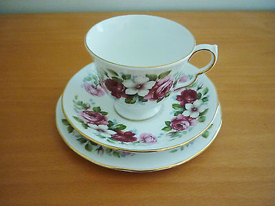 Vintage Queen Anne # 8644 Bone China Trio Set - Cup, Saucer & Side Plate England
