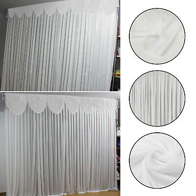 3M X 3M White Stage Wedding Backdrop Photography Background Drape Curtains UK