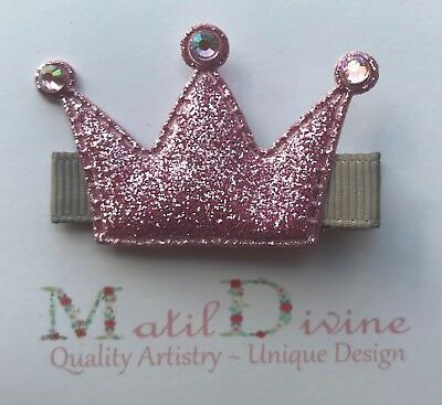 Baby Toddler Girl NonSlip Hair Clip 4.5cm Purple Silver Princess Crown Glitter
