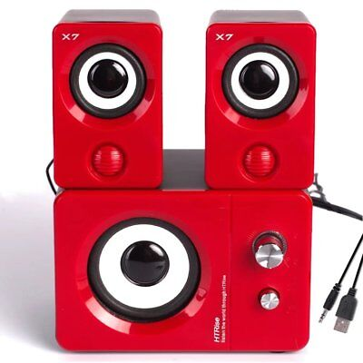 Red USB Powered Computer Speakers System Multimedia Stero For Gaming Music Movie
