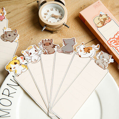 30pcs Cartoon Cat Paper Bookmark Kawaii School Stationery Message Note Cards