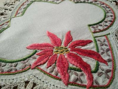 Wonderful Christmas Red Poinsettia   ~ Vintage Hand Embroidered Doily