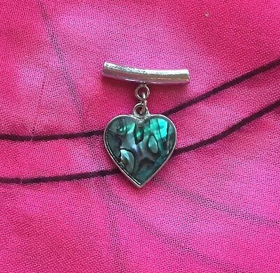 Vintage Antique Silver Paua Abalone Shell Love Heart Charm Pendant Estate Find