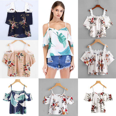 Fashion Women Summer Loose Top Off Shoulder Blouse Ladies Casual Tops T-Shirt