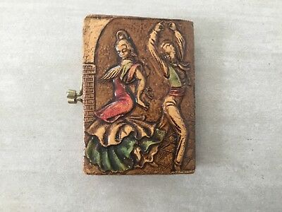 Vintage Embossed Leather Coine Purse Spanish Flamengo Dancers
