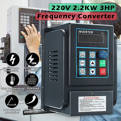 2.2KW 12A 3HP 220V 1-Phase Input to 380V 3-Phase Output Frequency Converter VFD