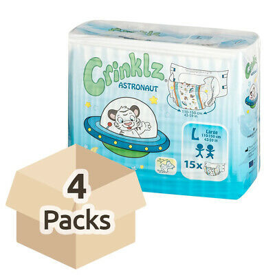 Adult Nappy / Diaper Crinklz Astronaut - Large - Case - 4 Packs of 15