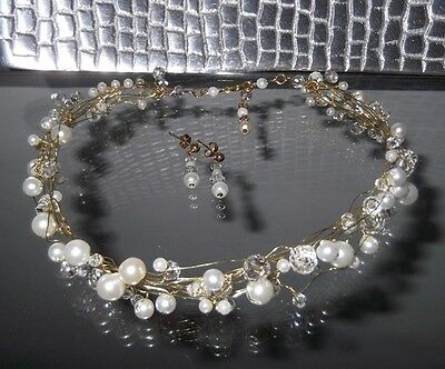 Handcrafted Gold Pearl Crystal Choker Necklace & Earring Set, White Ivory Colors