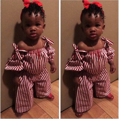 UK Toddler Girls Kids Stripe Outfits Strap Tops Pants Trousers Clothes Set 1-6Y