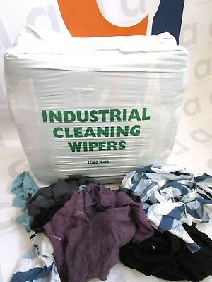 10Kg Coloured Mixed Rag Cleaning Wipes Garage Industrial Oil Spillage Wiper