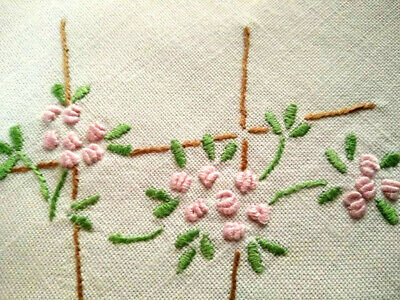 Charming Climbing Pink Roses ~ Vintage Hand Embroidered Doily