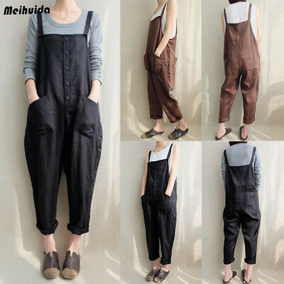 7e5934158612 Women s Casual Loose Linen Pants Cotton Jumpsuit Harem Trousers Overalls