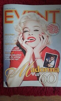 MADONNA AT 60 Event Magazine UK Mail On Sunday 1 Day Only