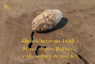 ORIGINAL ANCIENT GREEK ROMAN inscribed THUNDERBOLT LEAD SLING SHOT BULLET 300bc