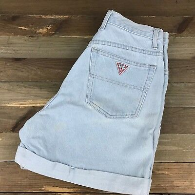 VTG GUESS WOMEN'S SHORTS 1980s Size 29 (28x4.5) Light Wash Mom Jean Shorts USA