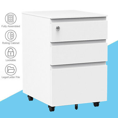Metal 3 Drawer Filing Pedestal Cabinet A4 Rolling Office Storage Chest Lockable