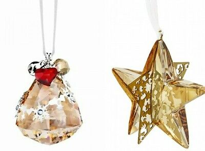 Swarovski 2012 Golden Shadow Bell & Star Christmas  Ornaments 1144687 ,1140008