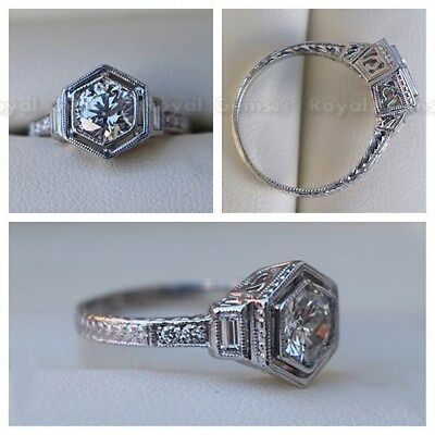 Antique Vintage Art Deco 14K White Gold Over Engagement Ring Old Circa 1925's