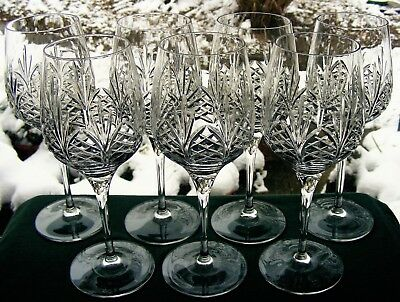 "Beautiful Set Of 7 Edinburgh Crystal 7 3/4"" Wine Glasses"