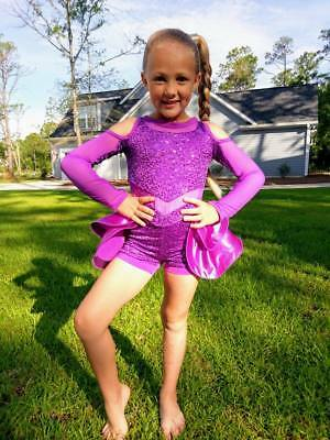 Dance Tap Ballet Jazz Pageant Purple Sparkle Sequins Costume - Girls 6 FREE SHIP