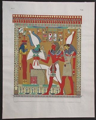 1832 Atlas Folio Engraving Ipp. Rosellini Monuments of Egypt Horus Osiris SETI I