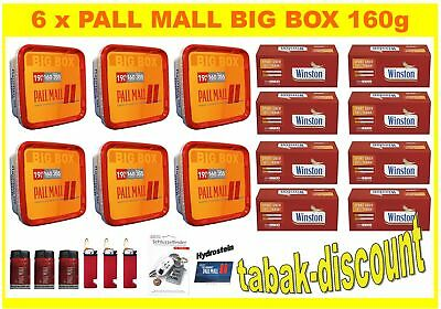"6X PALL MALL ALLROUND BIG BOX 160g TABAK +2000 EXTRA Hülsen - ""noch 160g Boxen"""