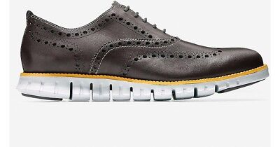🔥$270 Men's COLE HAAN ZERØGRAND Wingtip Oxford 8 grey brown lunar grand zero OS