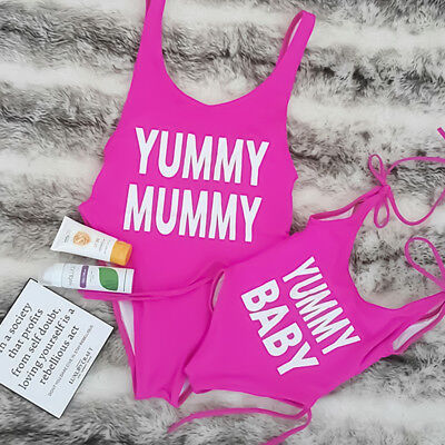 Women Kids Girls One Piece Swimsuit Family Matching Swimwear for Mother Daughter