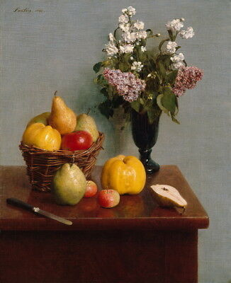 Henri Fantin Latour Still Life with Flowers and Fruit Giclee Canvas Print Poster