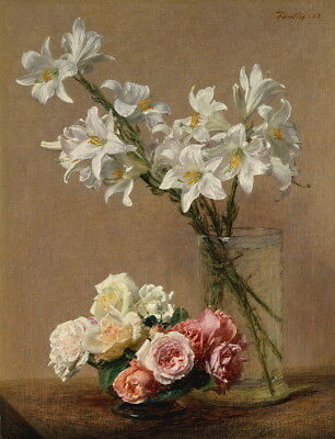 Henri Fantin Latour Roses and Lilies Giclee Canvas Print Paintings Poster