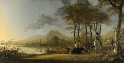Aelbert Cuyp River Landscape with Horseman and Peasants Giclee Canvas Print
