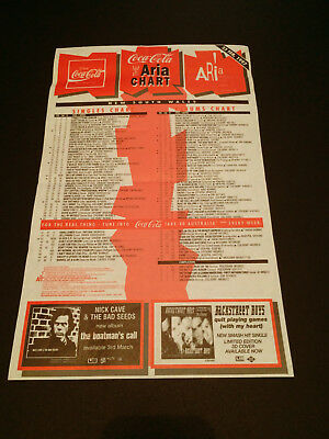 The Aria Chart Official Aussie Flyer Nick Cave & The Bad Seeds Live Backstreet