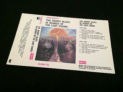 The Moody Blues In Search Of The Lost Chord New Zealand Unused Inlay Card