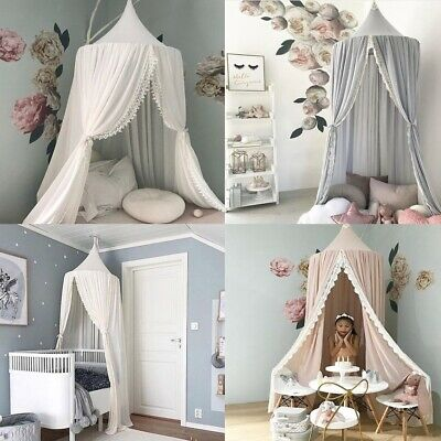 Lace Baby Crib Canopy Bed Mosquito Net Bedding Dome Kids Reading Play Tents & LACE BABY CRIB Canopy Bed Mosquito Net Bedding Dome Kids Reading ...