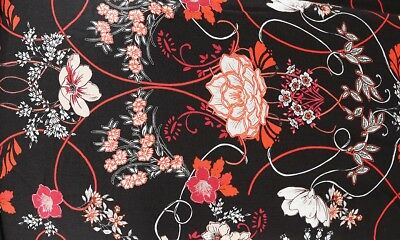 ONE OFF 1 Mtr Funky Dark Floral 100/% Spun Viscose Dress Fabric Material H224