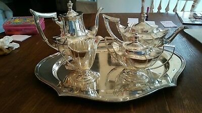 Sterling Silver GORHAM Plymouth Tea Set With Sheffield Serving Tray! Very Rare**