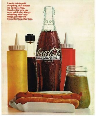 1966 Coca-Cola Coke Bottle with Hot Dog Relish Mustard Catsup Vtg Print Ad
