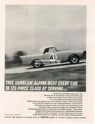 1962 Sunbeam Alpine race car Vtg Print Ad