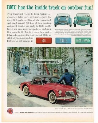 1961 BMC MG Red Roadster Skiers Sugarbush Valley Vtg Print Ad