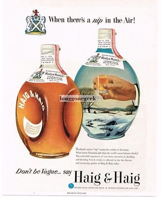 1954 HAIG & HAIG Scotch Whiskey Two Bottles Winter Scene art Vtg Print Ad