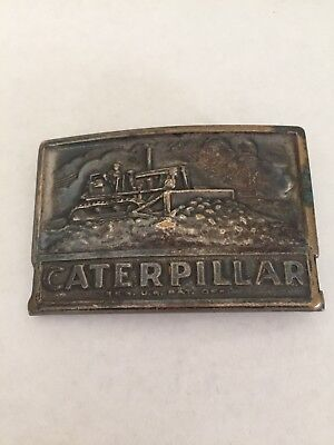 Vintage 1970s CAT Caterpillar track type shovel tractor solid brass belt buckle