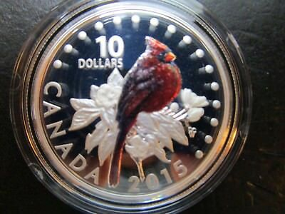 $10 Silver 2015 Northern Cardinal COLORFUL SONGBIRDS OF CANADA