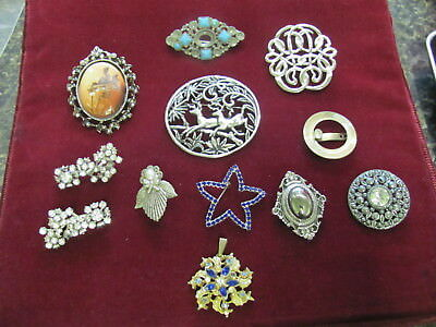 F1061 Old Pawn Lot Of Misc Antique Pins Jewelry