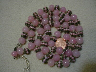 """Antique RARE Very  OLD GLASS BEAD Necklace 14 """" Long9.95"""