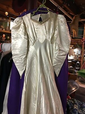 VTG 30s 40s Forbes & Wallace  Liquid Satin Monarch Train Wedding Gown AS IS