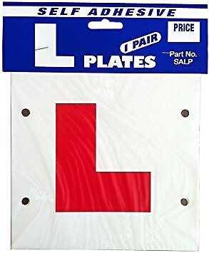 2x L Learner Driver Self Adhesive Plates for All Cars