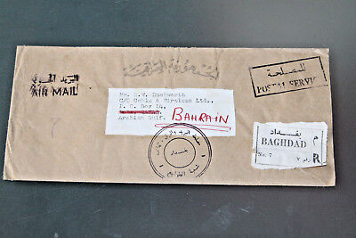 Iraq 1972 Reg Cover To Bahrain Via Qatar With Various Handstamps - Unusual Item
