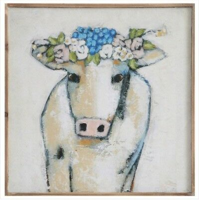 Cow And Flowers Wall Decor Nursery Room Decor Baby Shower Rustic Country