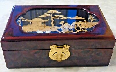 Beautiful Oriental Reverse Painting On Glass Scene Lacquer Jewelry Box
