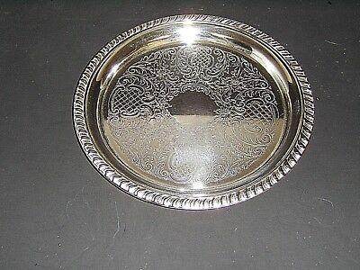 """Vintage Sheridan Silverplate Floral Pattern 8-1/4"""" Round Tray"""